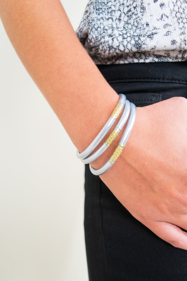 Budha Girl Bracelets Set of Three/Silver - The Willow Tree Boutique