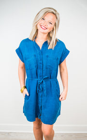 Bella Dahl Cap Sleeve Pocket Shirt Dress
