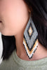 Jennifer Earring/Gold, Grey & Black