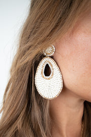All That Glitters Earrings-White
