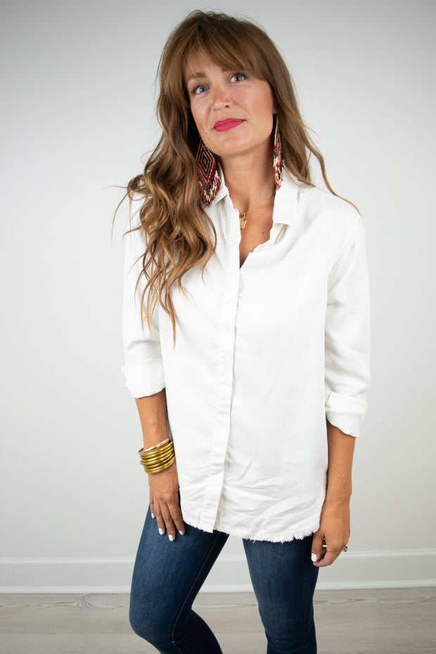 Bella Dahl Fray Hem Button Down Blouse