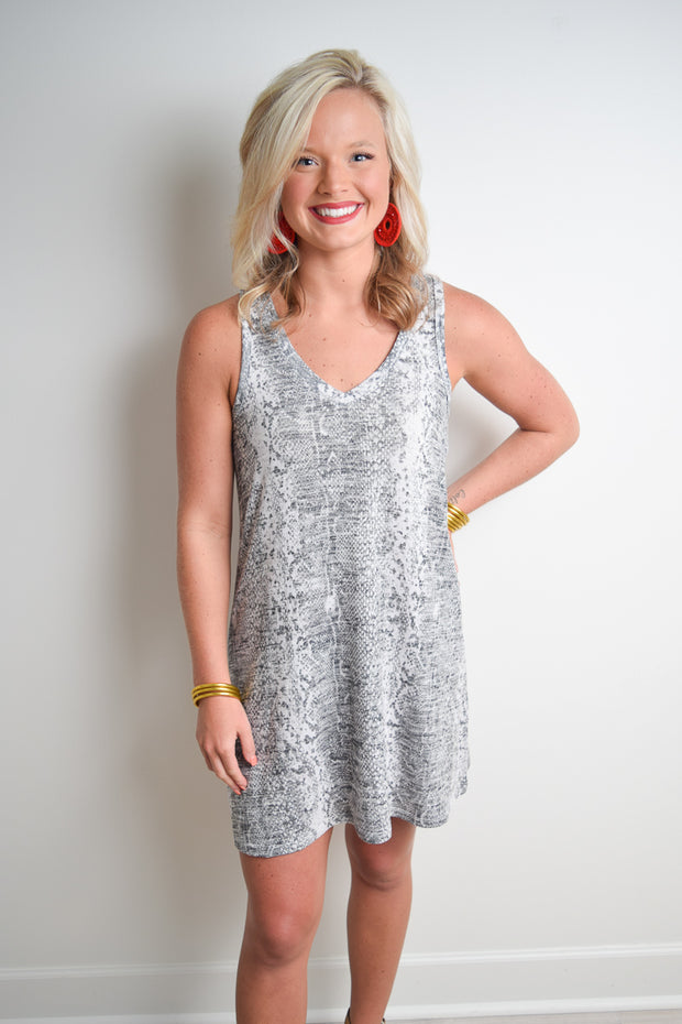 The Snakeskin Breezy Dress - The Willow Tree Boutique