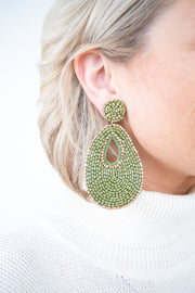 All That Glitters Earrings-Olive