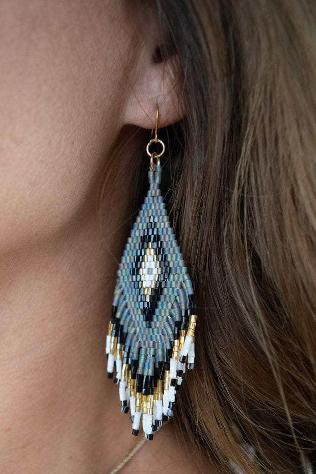 Small Jennifer Earring/Gold, Grey, Black
