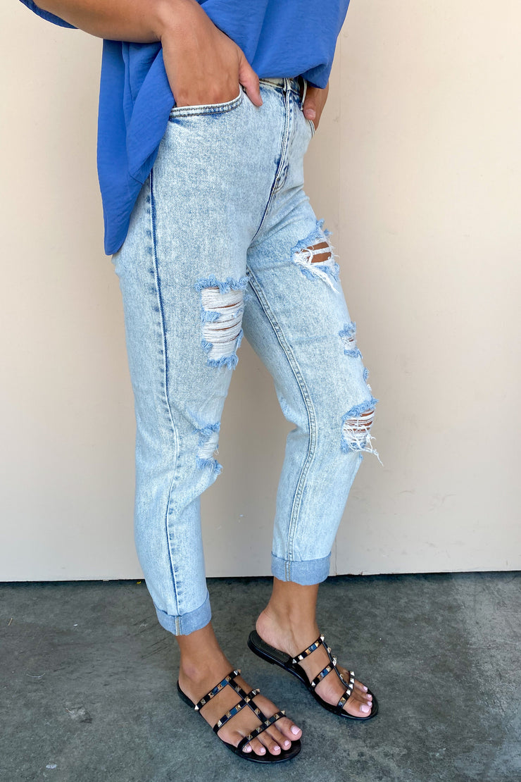 Call It Mom Distressed Crop Jean