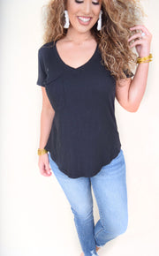 The Cotton Slub Pocket Tee - The Willow Tree Boutique