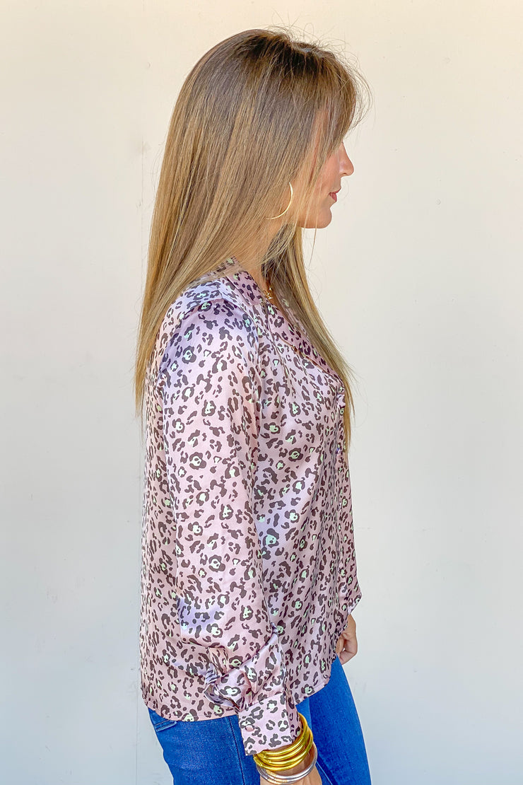Well Mannered Leopard Satin Top