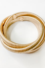 Florence Interlocking 3 Row Bangle - Gold