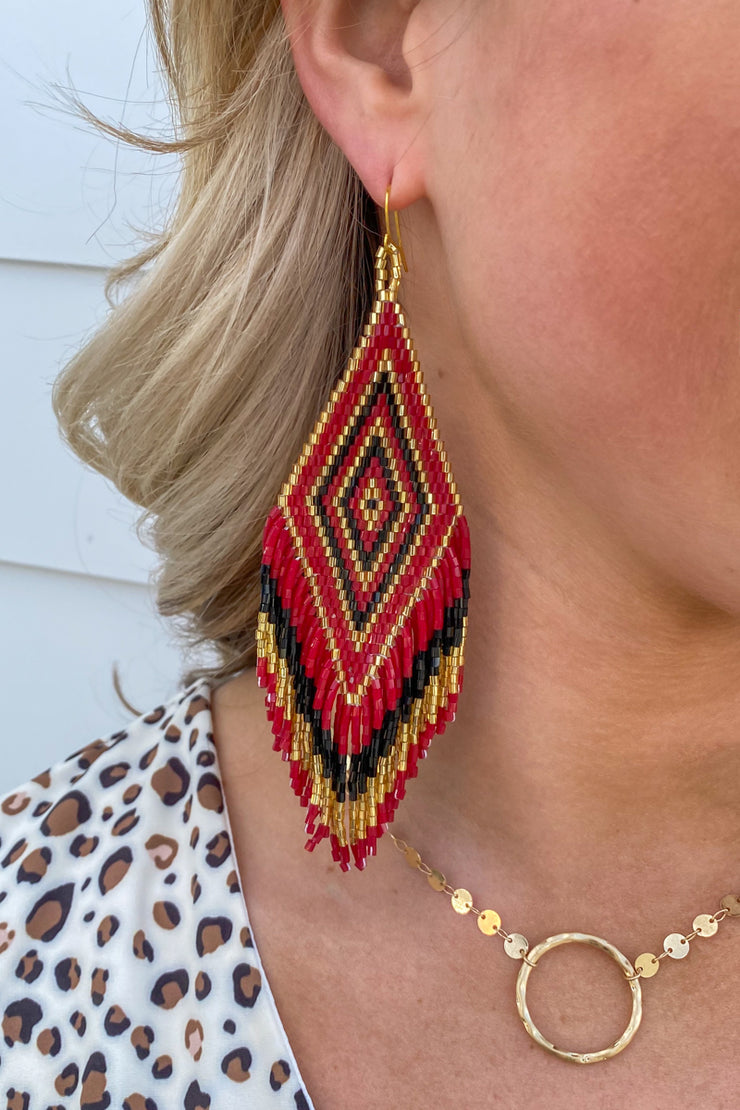 Jennifer Earrings/ Burgundy, Black & Gold