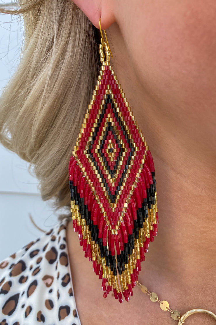 Beaded Earring Burgundy/Blk/Gd