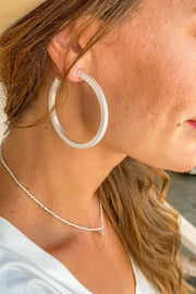 Feeling New Satin Silver Hoops