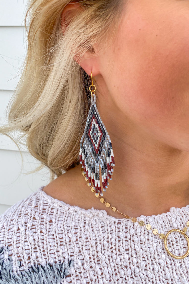 Small Jennifer Beaded Earring/ Grey, Black, Burgundy