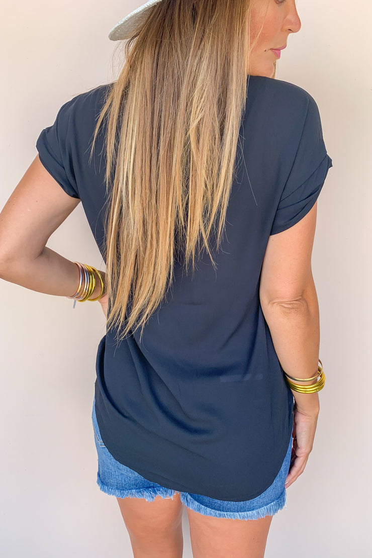 Having A Good Time Cuff Sleeve Top