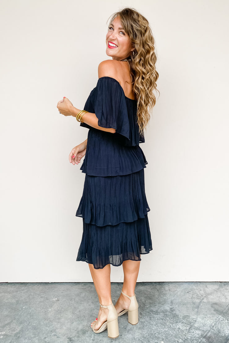 Go With It Off Shoulder Midi Dress - FINAL SALE