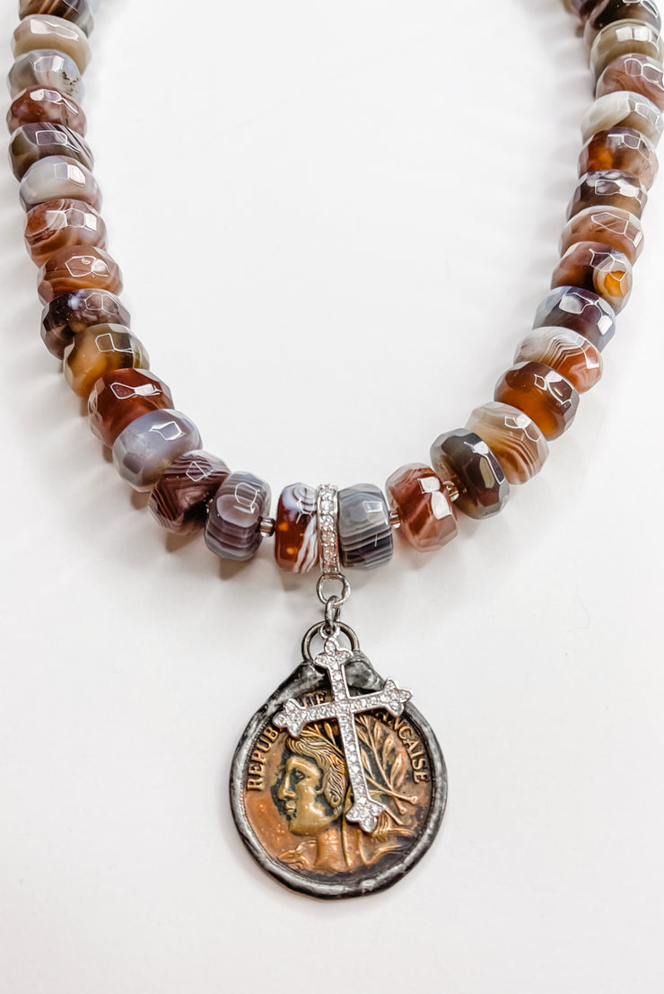 Faceted Agate Bronze Stone Necklace | RockStar In Rome