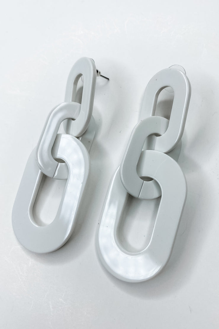 Brixton White Linked Earrings