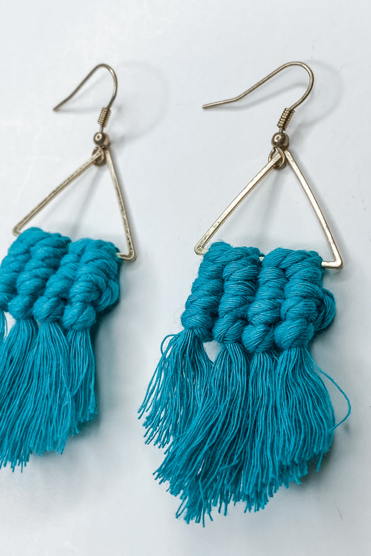 Fanfare Tassel Earrings - Teal