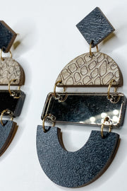 Bela Taupe Snakeskin Mirror Earrings