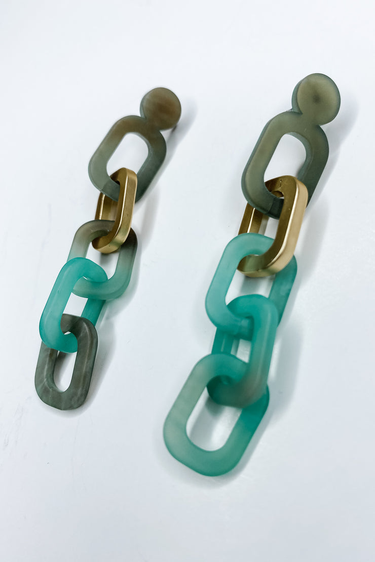 Brixton Acrylic Chain Earrings - Turquoise