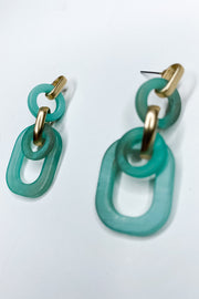 New Feeling Acrylic Oval Earrings - Turquoise