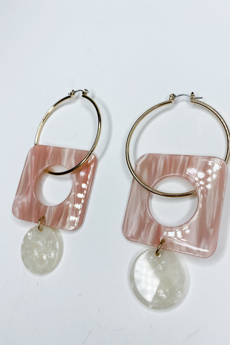 Charmed Disk Earring - Pink