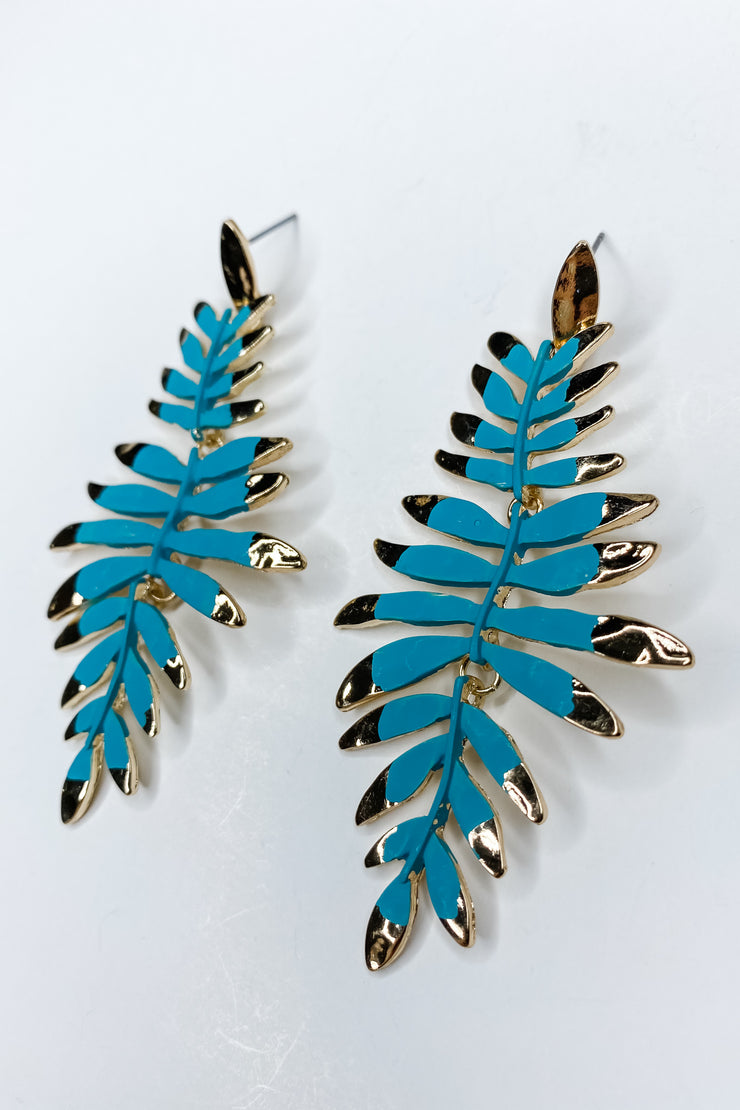 Not Your Average Leaf Earring- Turquoise
