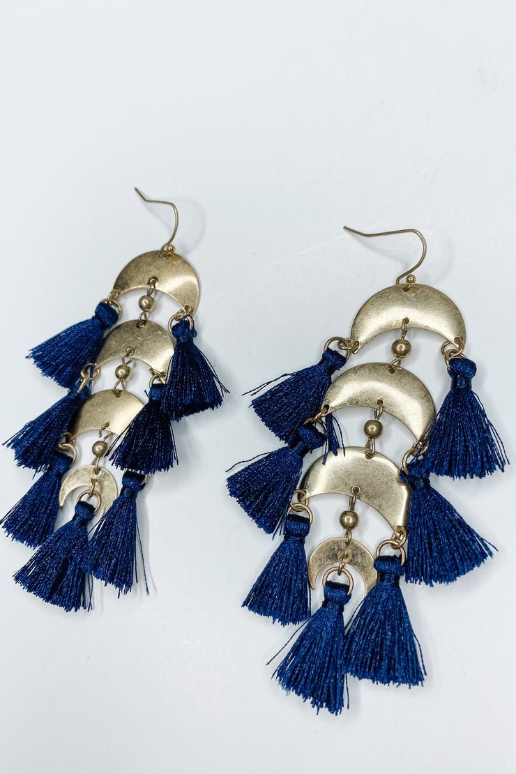 Valentina Crescent Earring - Navy
