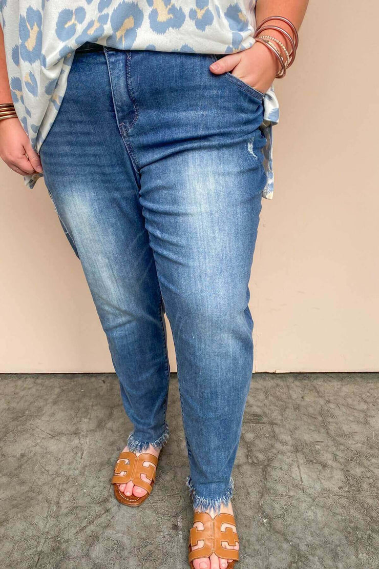 Ab Solution Luxe w/Chewed Hem Jean | Democracy
