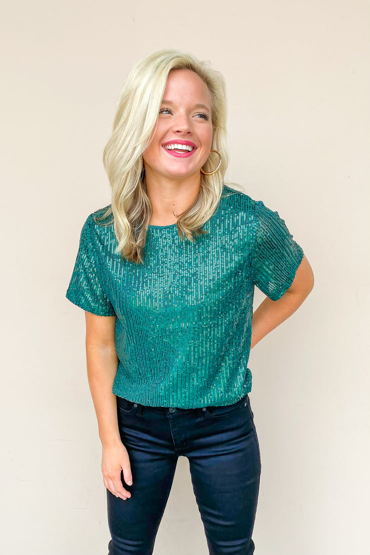 Lucky Lady Green Sequin Top