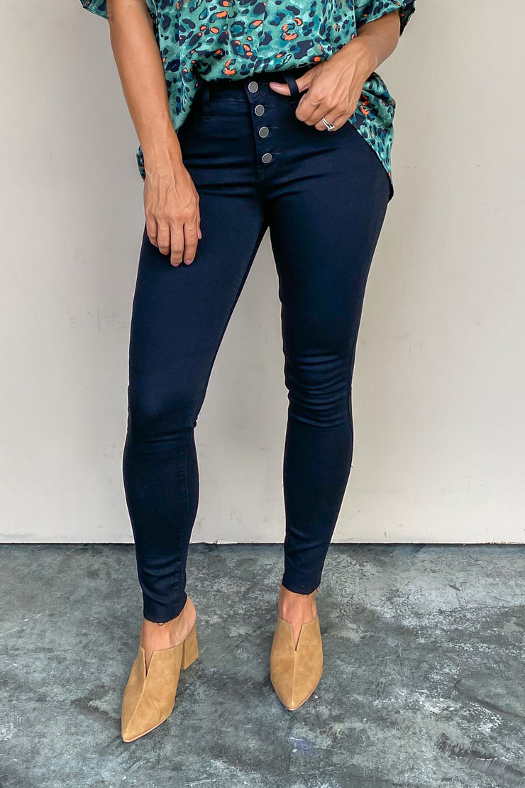 Trina Button Down Skinny Jean | Just Black - FINAL SALE