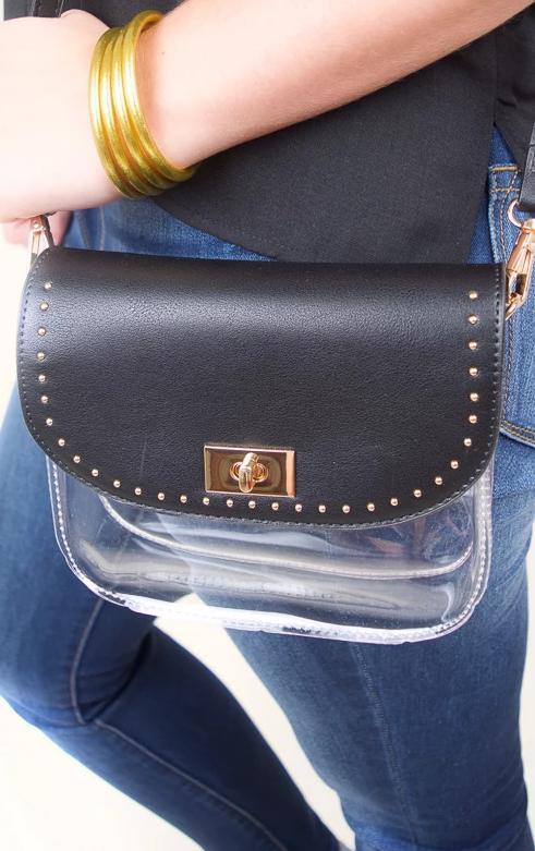 Studded Varsity Clear Crossbody - The Willow Tree Boutique
