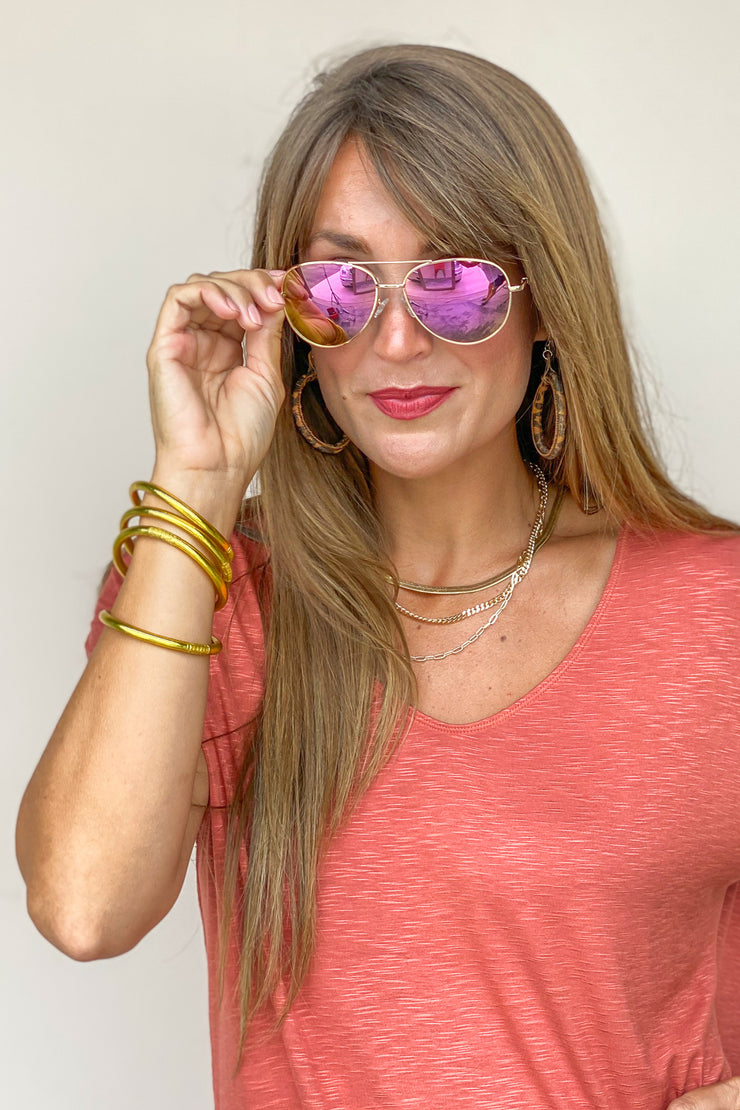 Heat Wave Pink/Gold Sunglasses | Peepers