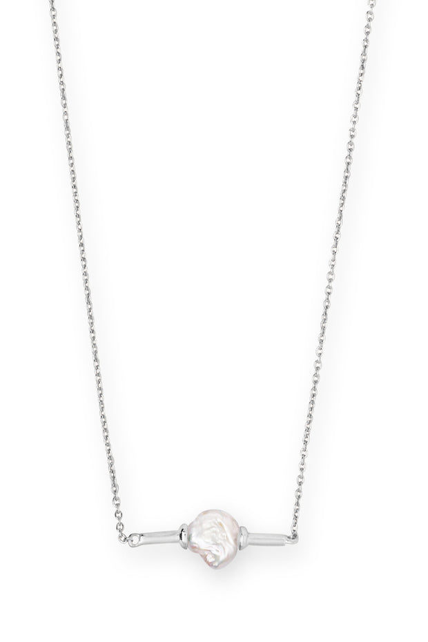 Emberly Bright Silver Pendant Necklace in Pearl - The Willow Tree Boutique