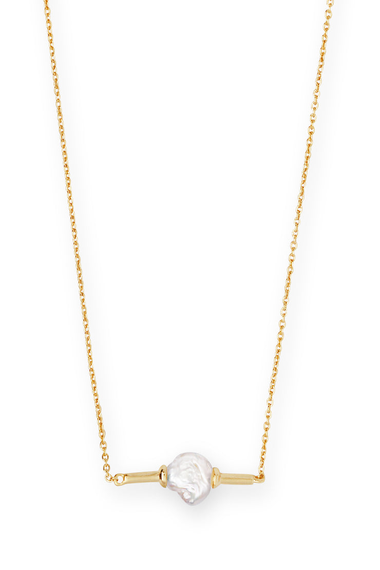 Emberly Gold Pendant Necklace in Pearl - The Willow Tree Boutique