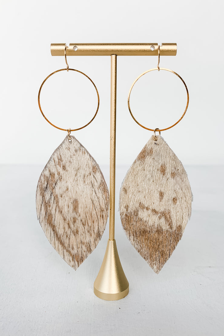Leather Feather Hoop Earrings