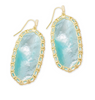 Macrame Danielle Gold Statement Earring - Aqua Illusion