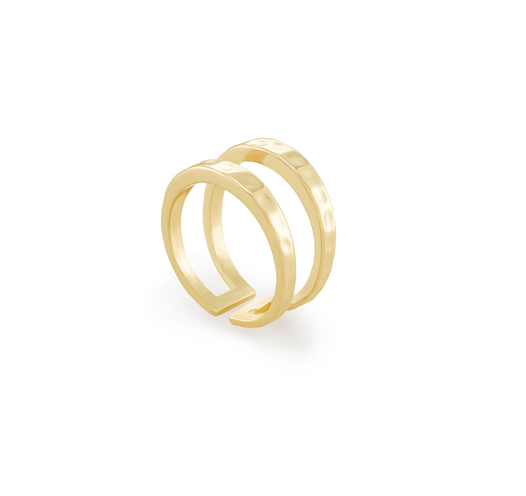 Zorte Double Band Gold Ring - Size 7