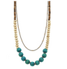 Henley Layered Necklace - Green Turquoise Wood & Clay