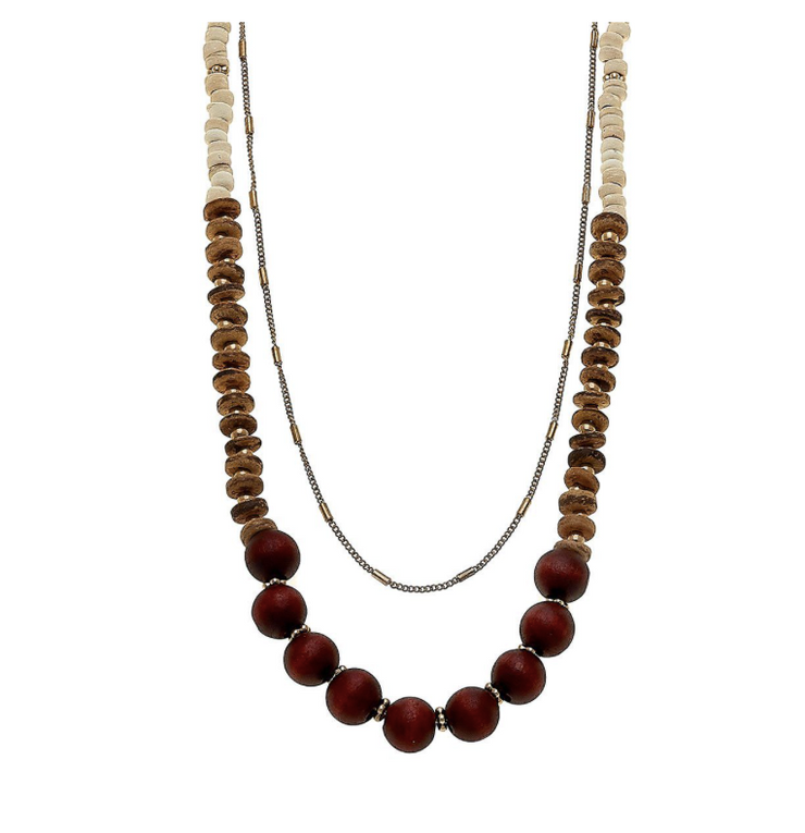 Henley Layered Necklace - Beige Tonal Wood & Clay