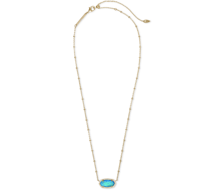 Elisa Satellite Gold Short Pendant Necklace - Turquoise Kyocera Opal