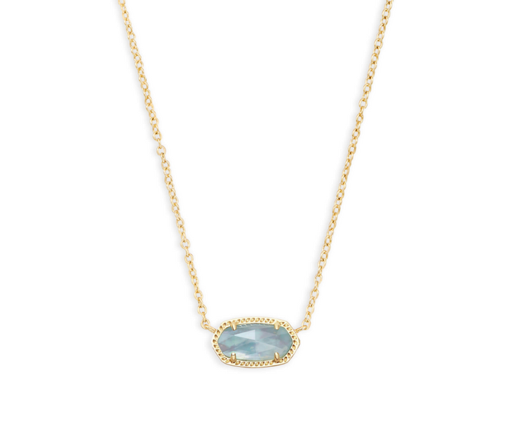 Elisa Gold Pendant Necklace -Light Blue Illusion