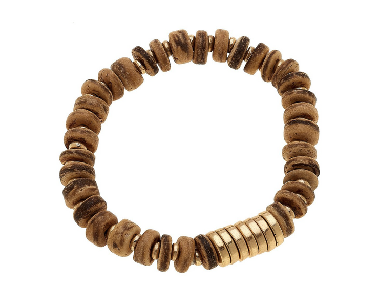 Henley Stretch Bracelet - Brown Wood