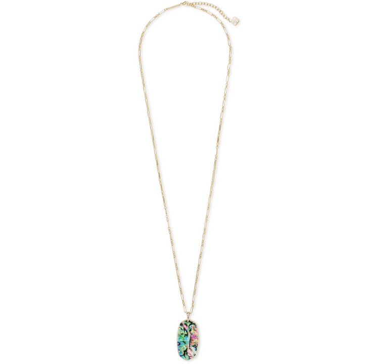 Faceted Reid  Long Gold Necklace - Abalone