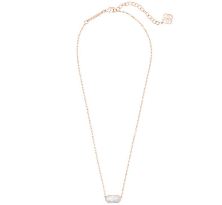 Ever Rose Gold Necklace - White Kyocera Opal
