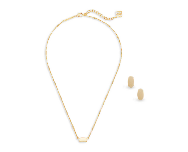 Fern Necklace & Barrett Earrings Gift Set - Gold