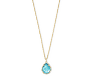 Macrame Gold Dee Pendant Necklace - Aqua Illusion