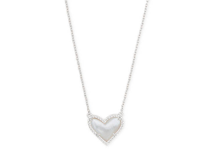 Ari Heart Silver Pendant Necklace - Ivory Mother of Pearl