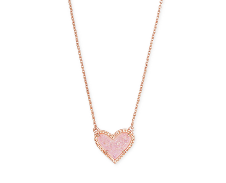 Ari Heart Rose Gold Pendant Necklace - Pink Drusy - FINAL SALE