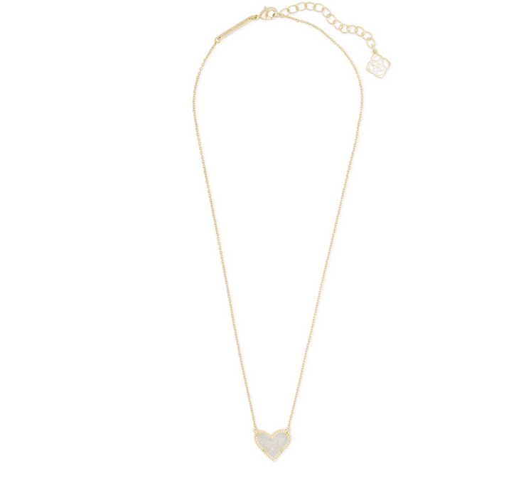 Ari Heart Gold Pendant Necklace - Iridescent Drusy