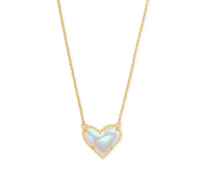 Ari Heart Gold Pendant Necklace - Dichroic Glass